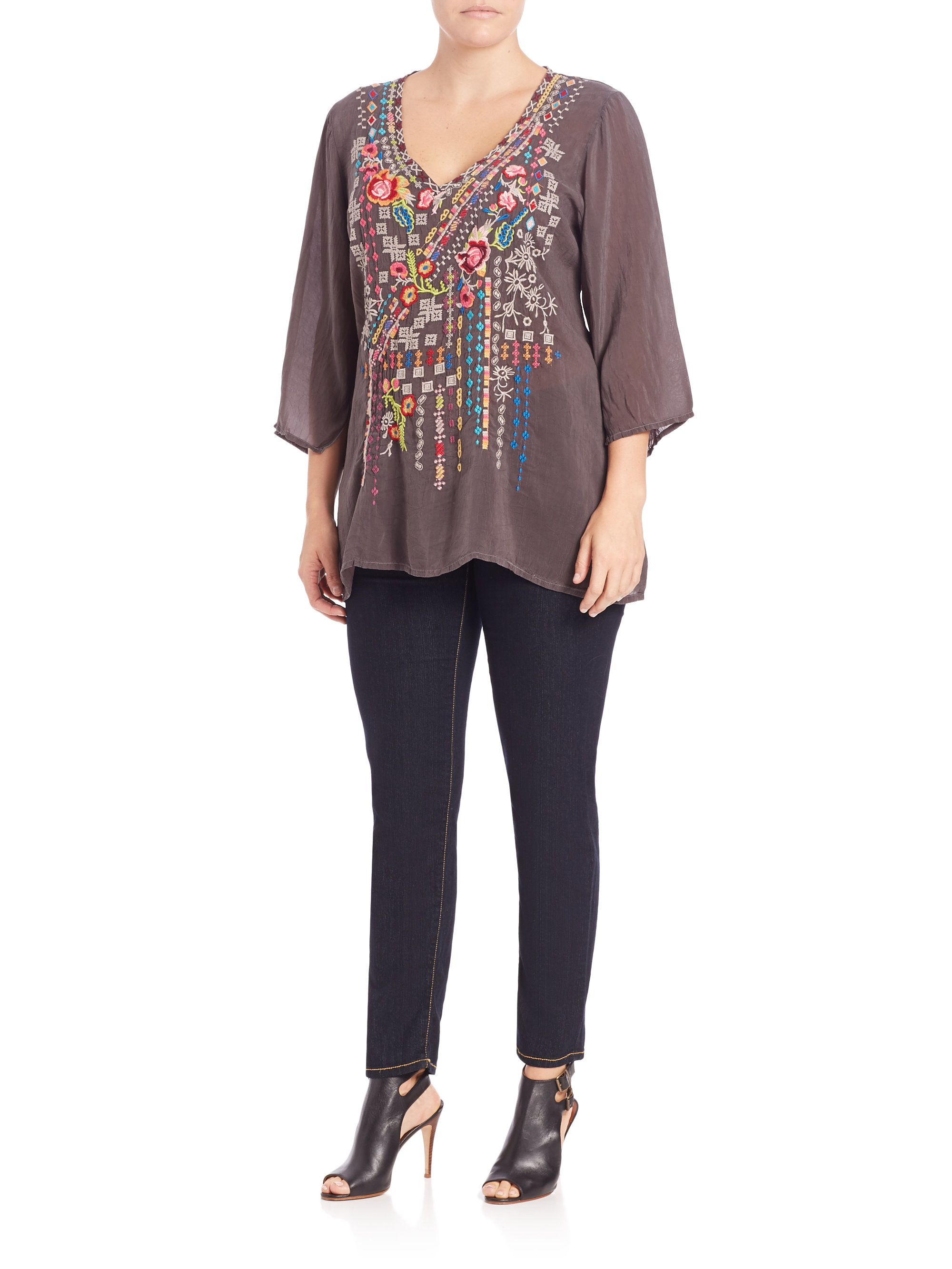 Johnny was Sonrisa Embroidered Peasant Blouse in Gray | Lyst