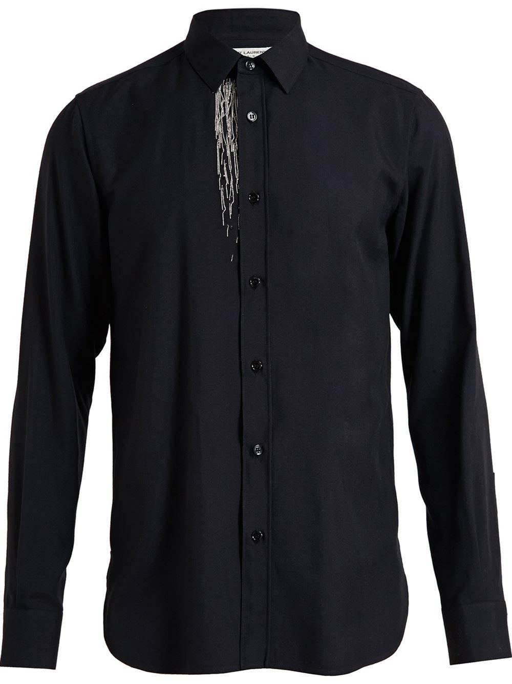 Lyst saint laurent silver tassel shirt in black for men for Mens shirt with tassels