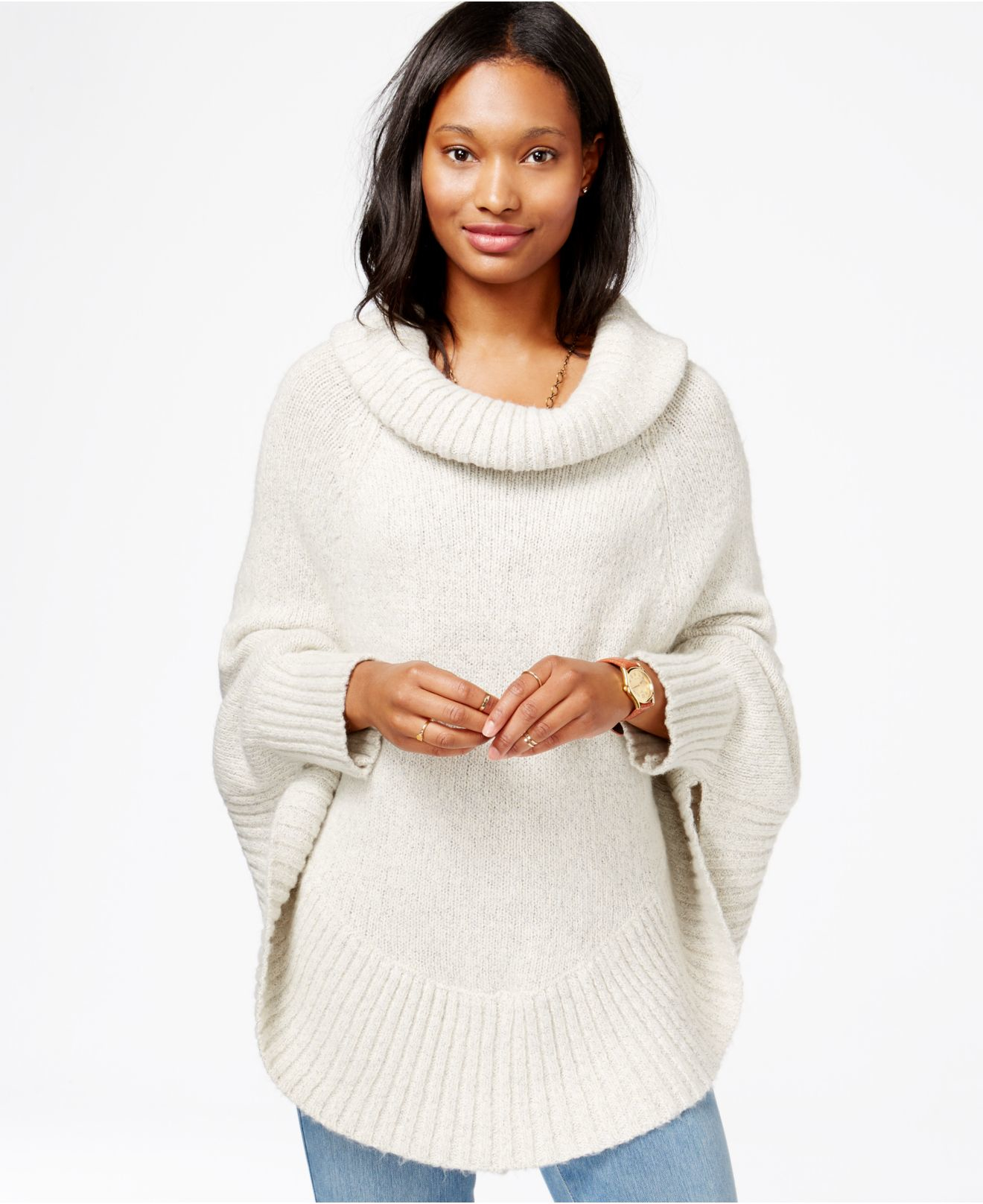 Cowl Neck Poncho Knitting Pattern : Maison jules Long-sleeve Cowl-neck Marled-knit Poncho in White Lyst