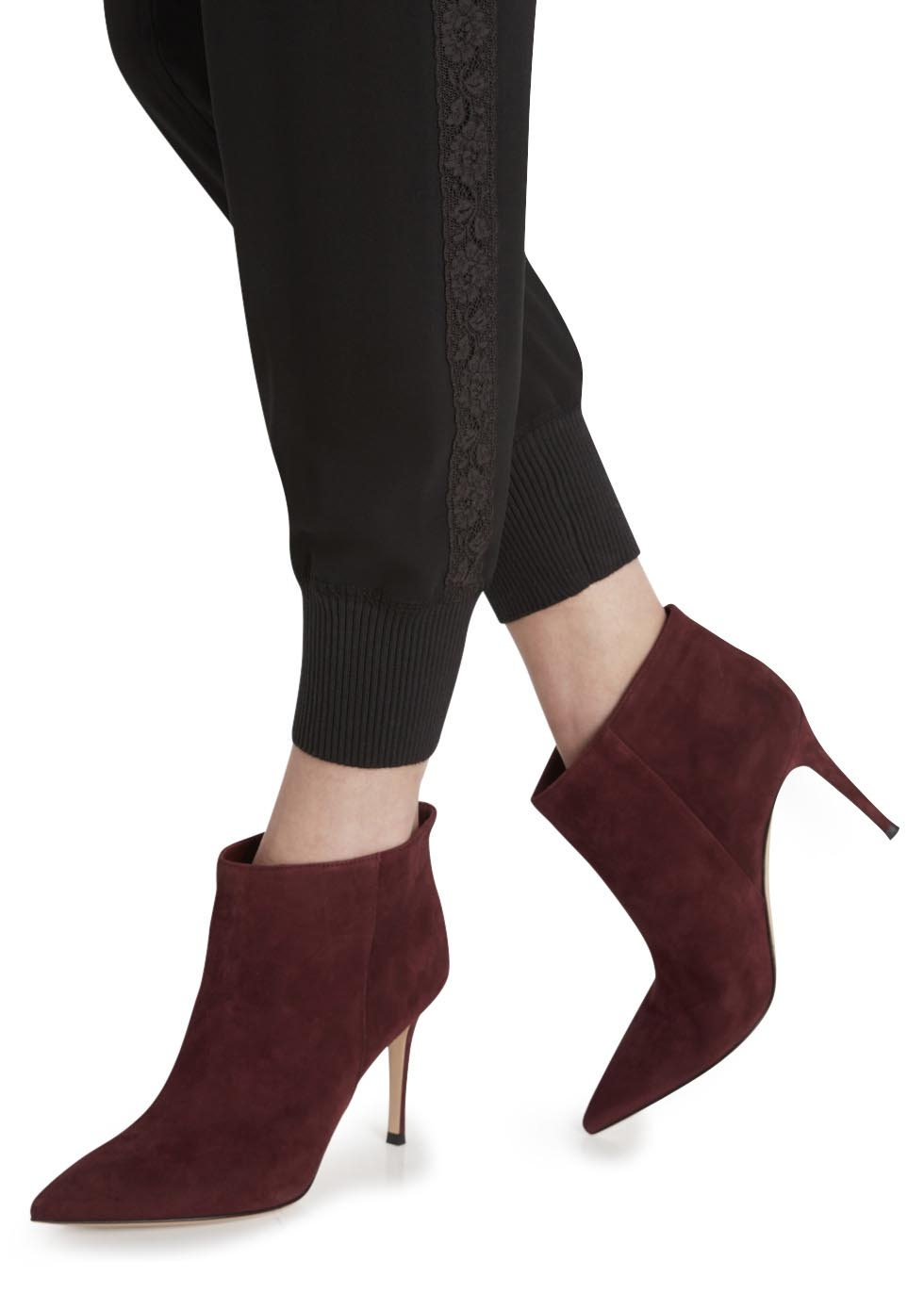 Gianvito Rossi Burgundy Suede Ankle Boots in Red