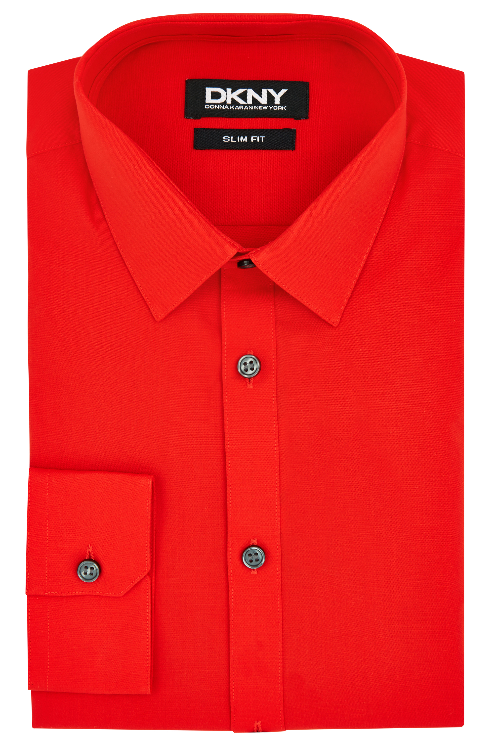 Lyst dkny slim fit red single cuff shirt in red for men for Cuff shirts for men