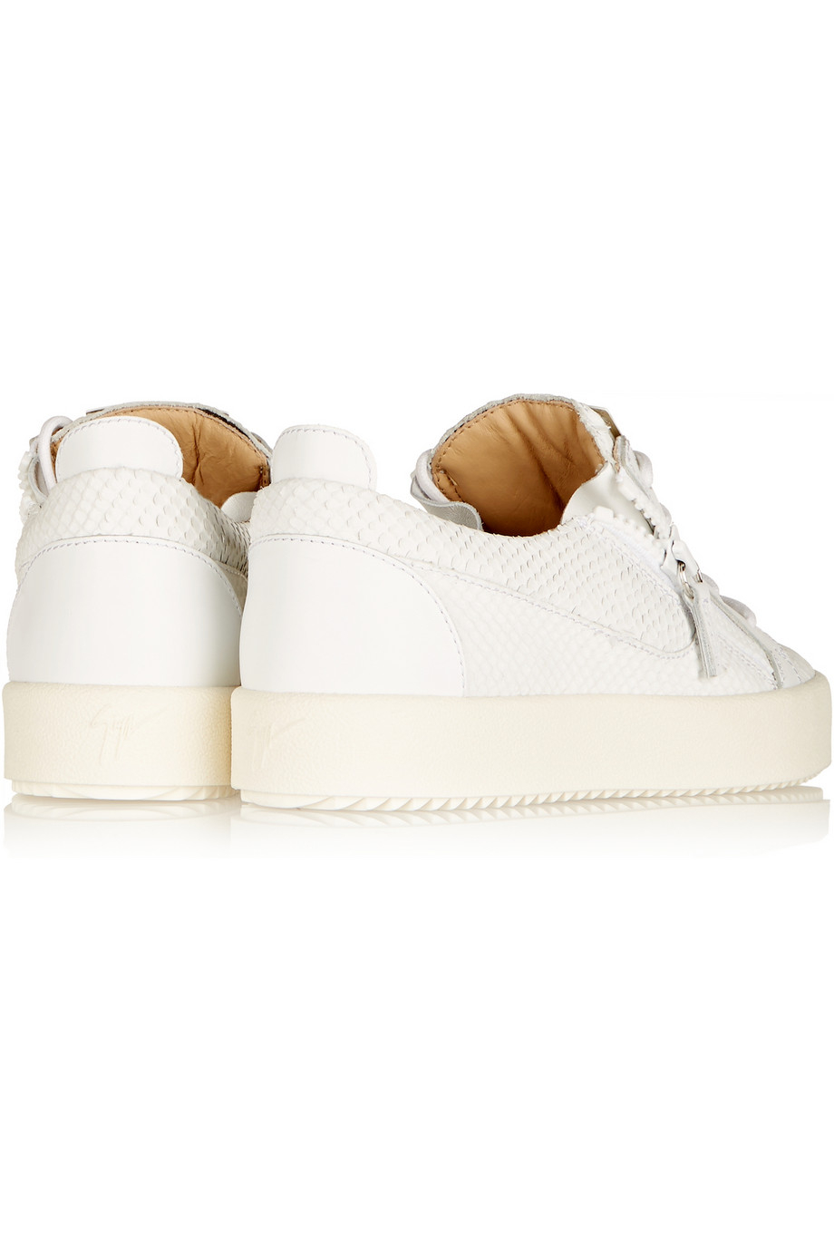 Giuseppe Zanotti May London Snake-Effect Leather Sneakers in White