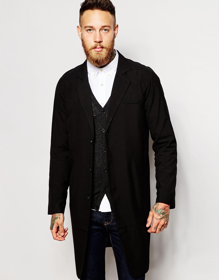Asos Lightweight Duster Coat In Black in Black for Men | Lyst