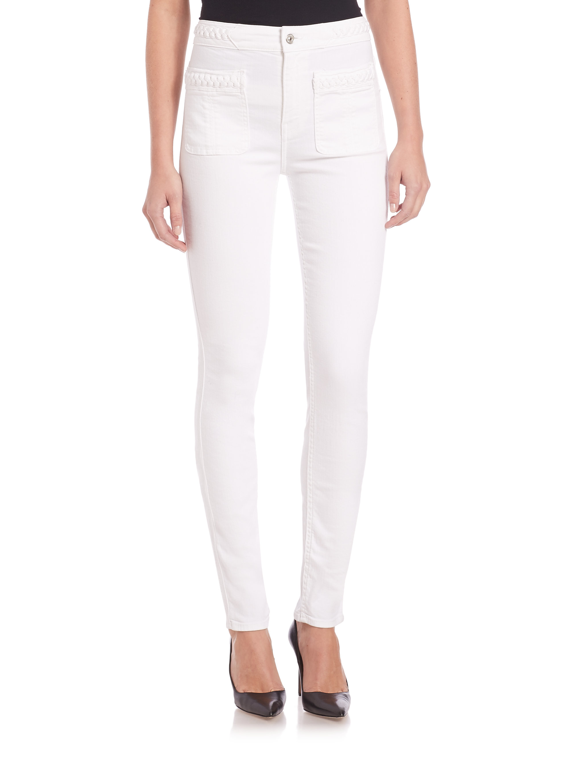 7 for all mankind Braided-trim Skinny Jeans in White | Lyst