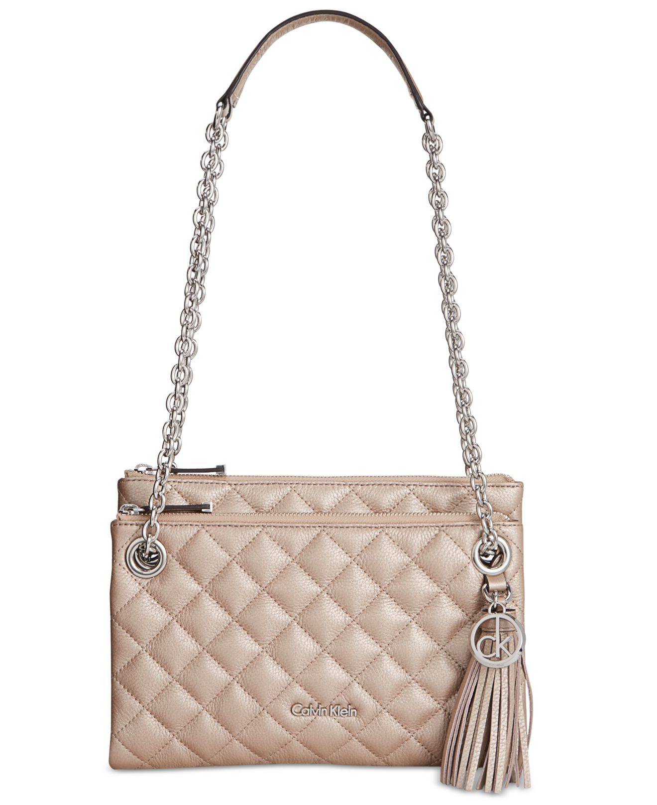 Calvin Klein Quilted Pebble Leather Triple Compartment