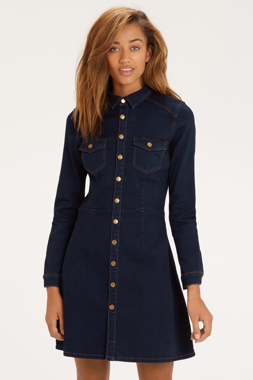 Oasis Structured Button Through Dress In Denim Blue Lyst