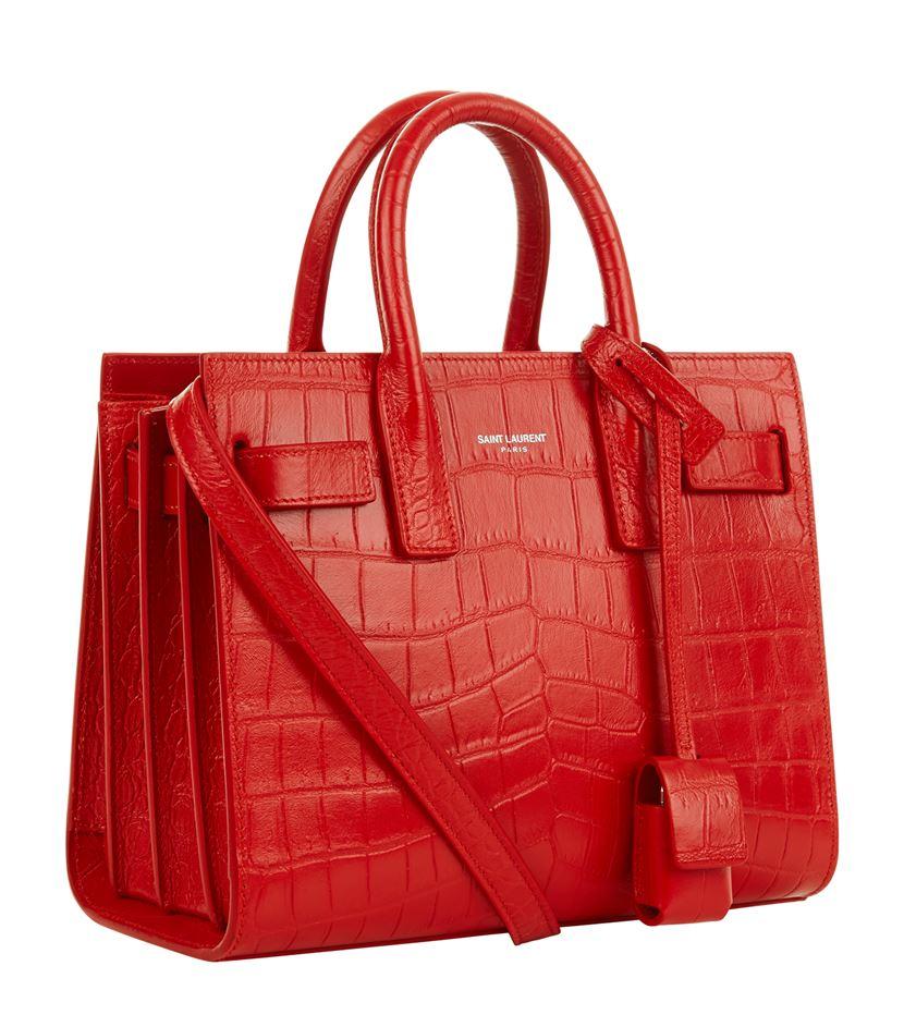 Sac De Jour Crocodile Stamped Satchel Bag Red Yves St