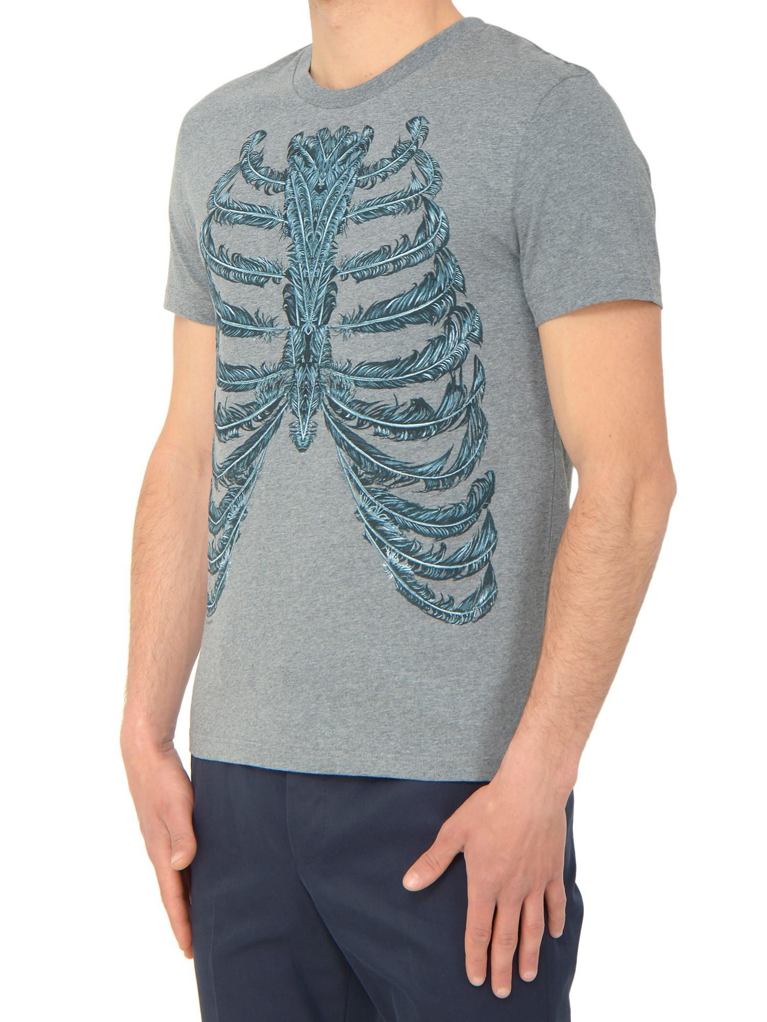 Alexander mcqueen feather skeleton t shirt in gray for men for Alexander mcqueen shirt men