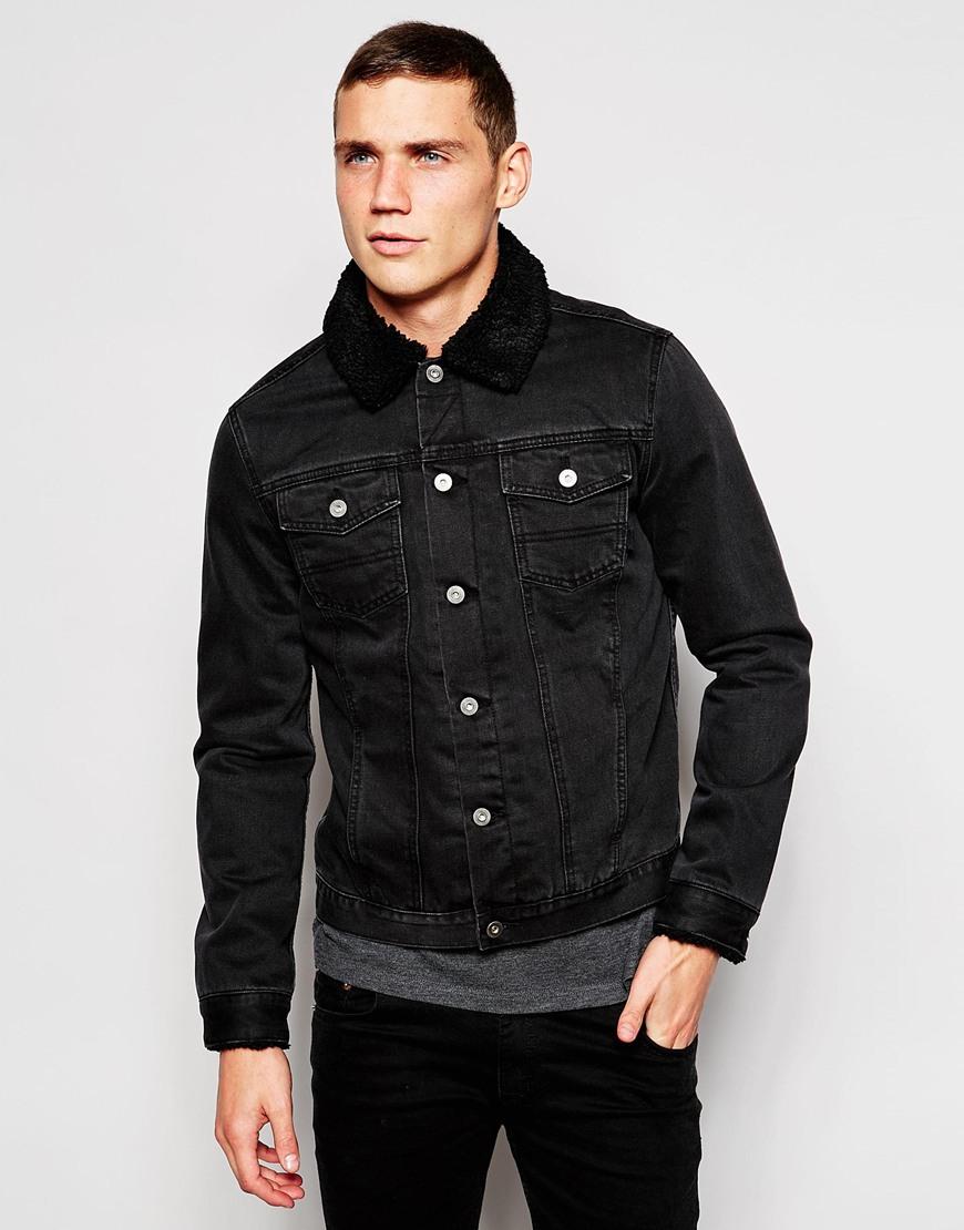 asos denim jacket with borg collar in black in black for. Black Bedroom Furniture Sets. Home Design Ideas