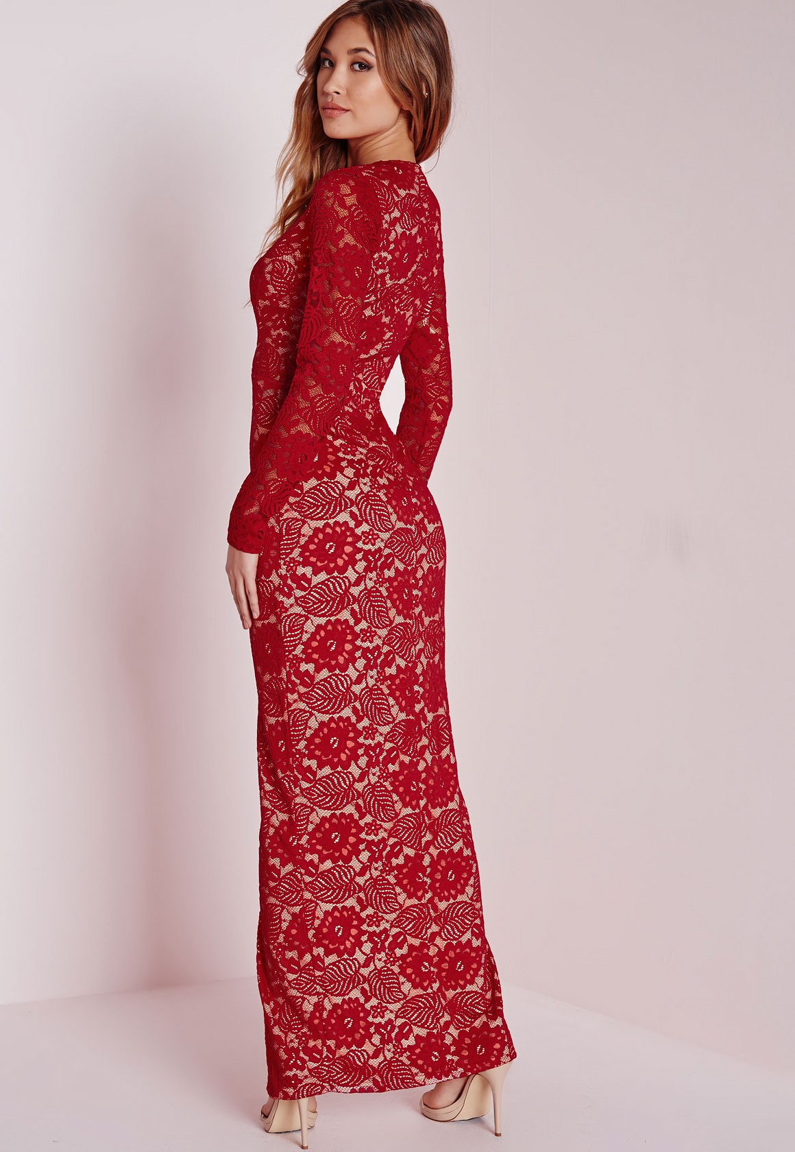 Red lace long sleeve maxi dress