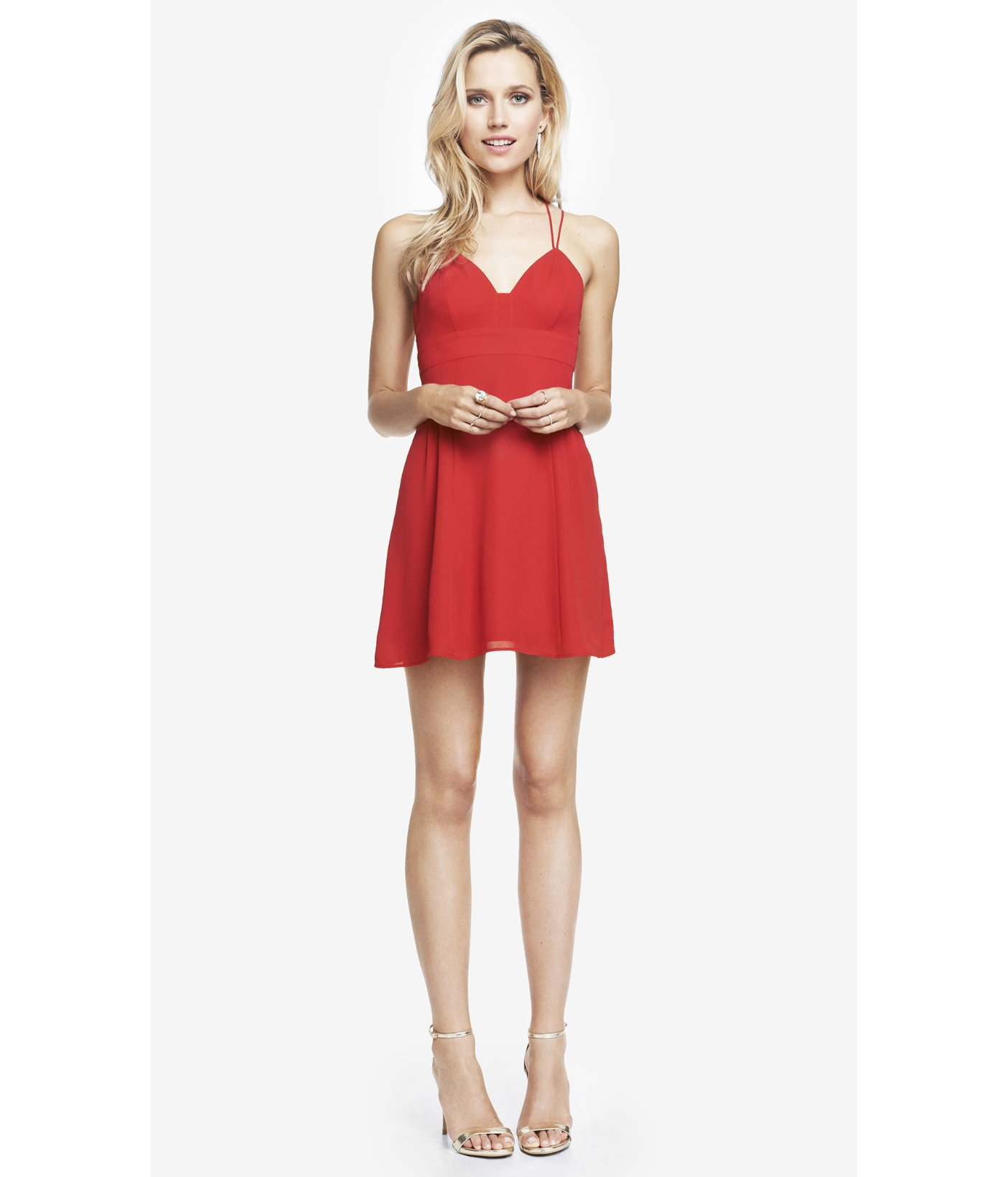7a36e551850 Express Strappy Babydoll Dress - Red