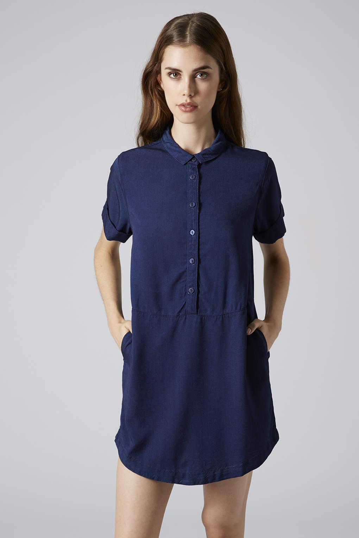 Topshop Tencel Denim Shirt Dress in Blue (INDIGO DENIM) | Lyst
