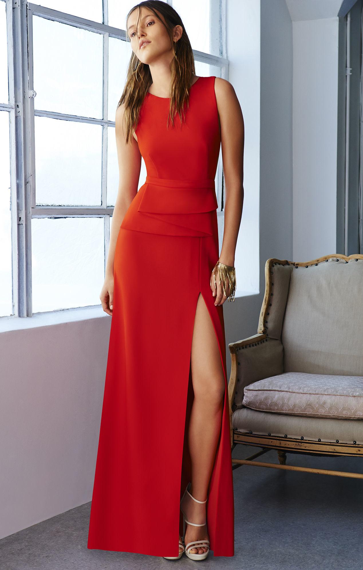 Lyst - Bcbgmaxazria Kiara Sleeveless Peplum Gown in Red