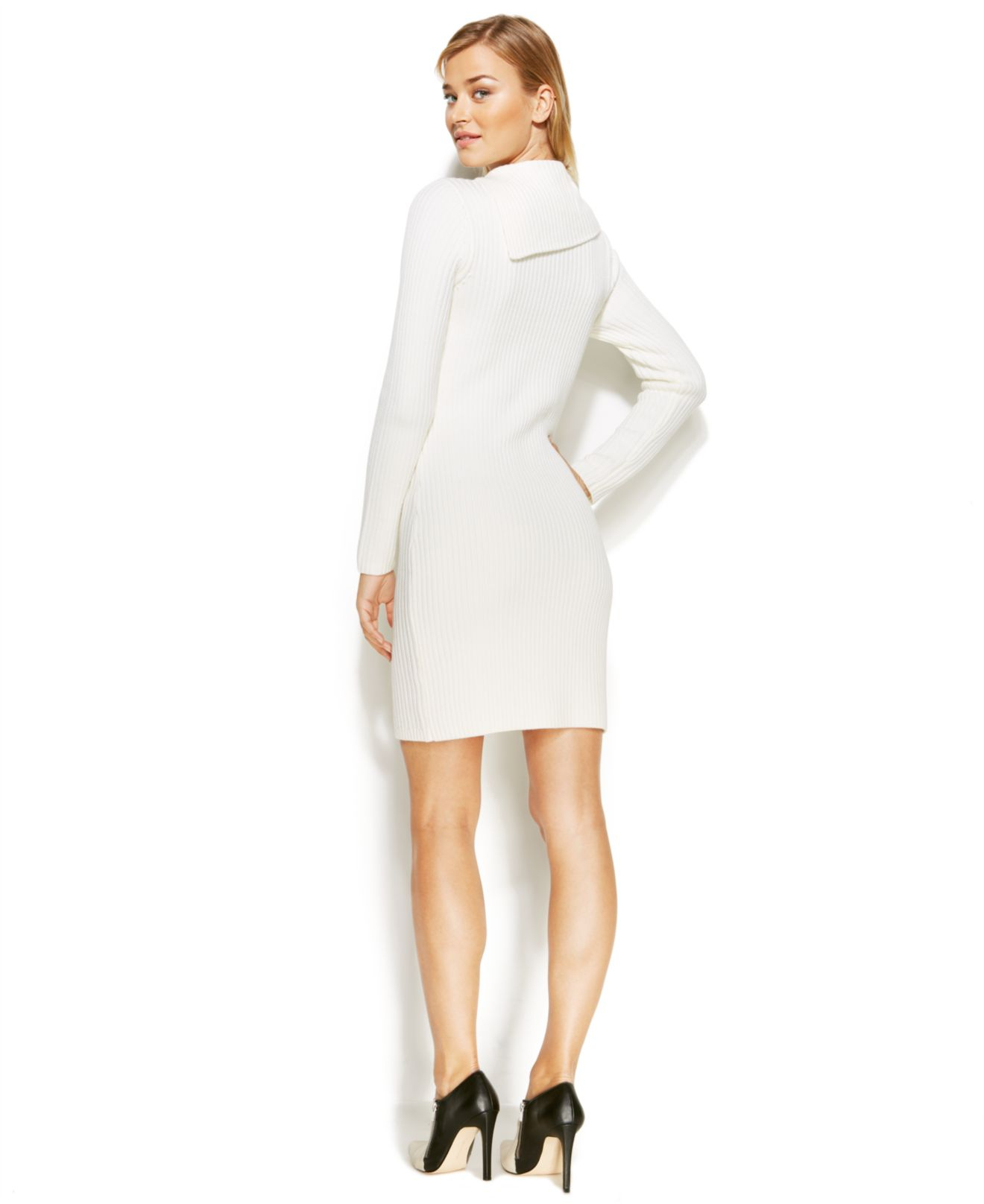 Calvin klein Cable-Knit Sweater Dress in White | Lyst