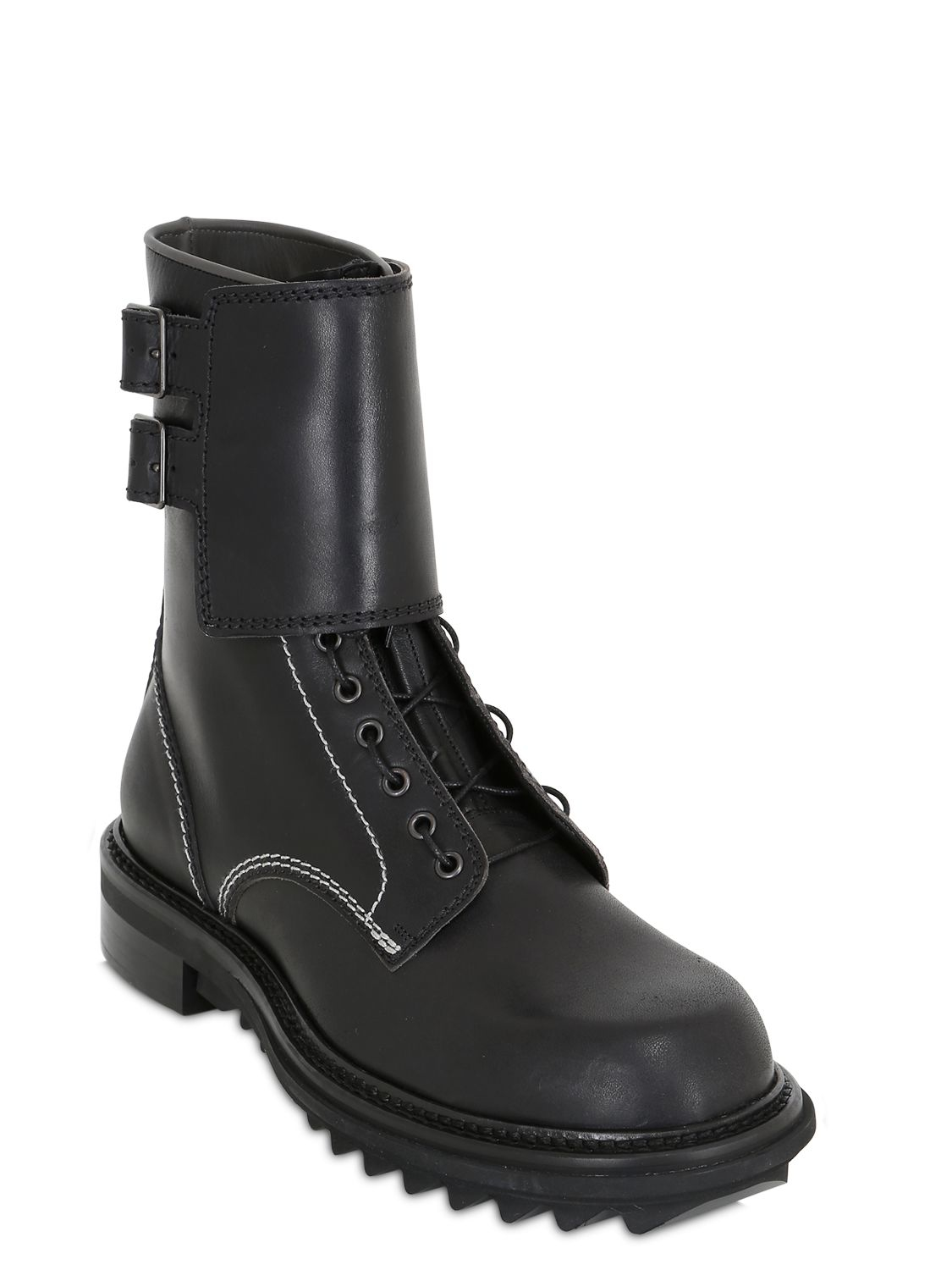 Lanvin Leather Combat Boots in Black