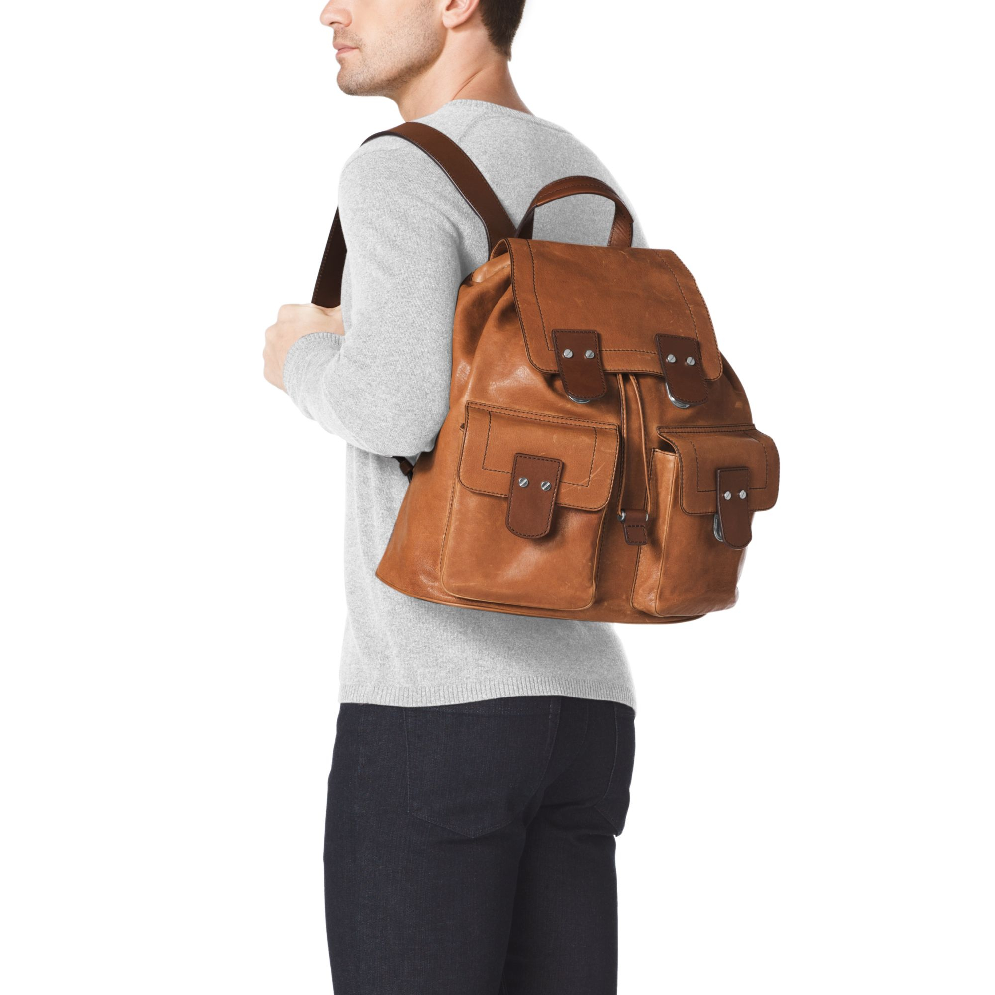 84dbcfbd564b ... wholesale lyst michael kors wilder vintage leather backpack in brown  for men 4d8e8 4be02