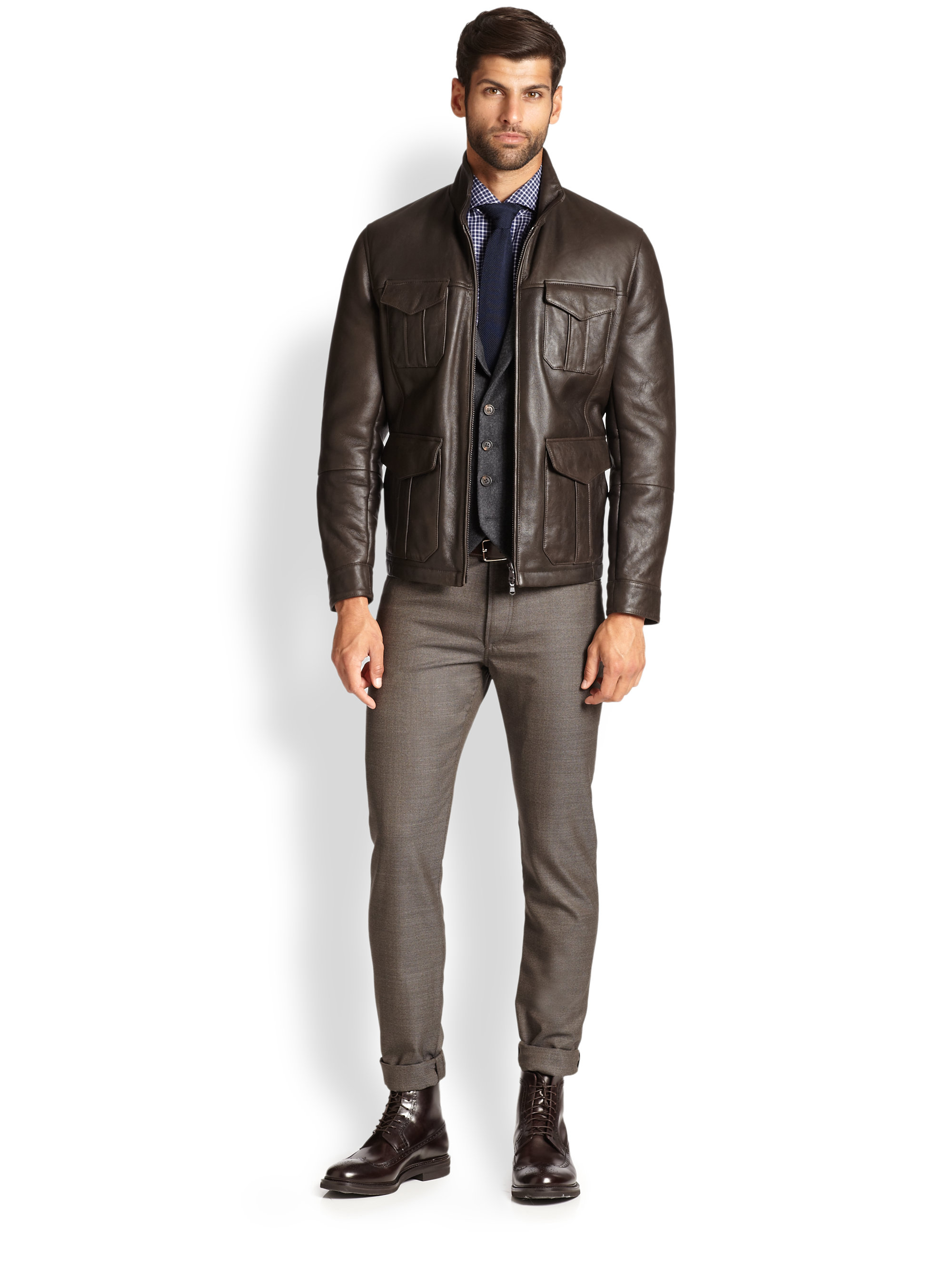 Brunello cucinelli Shearling-Lined Leather Bomber Jacket in Brown