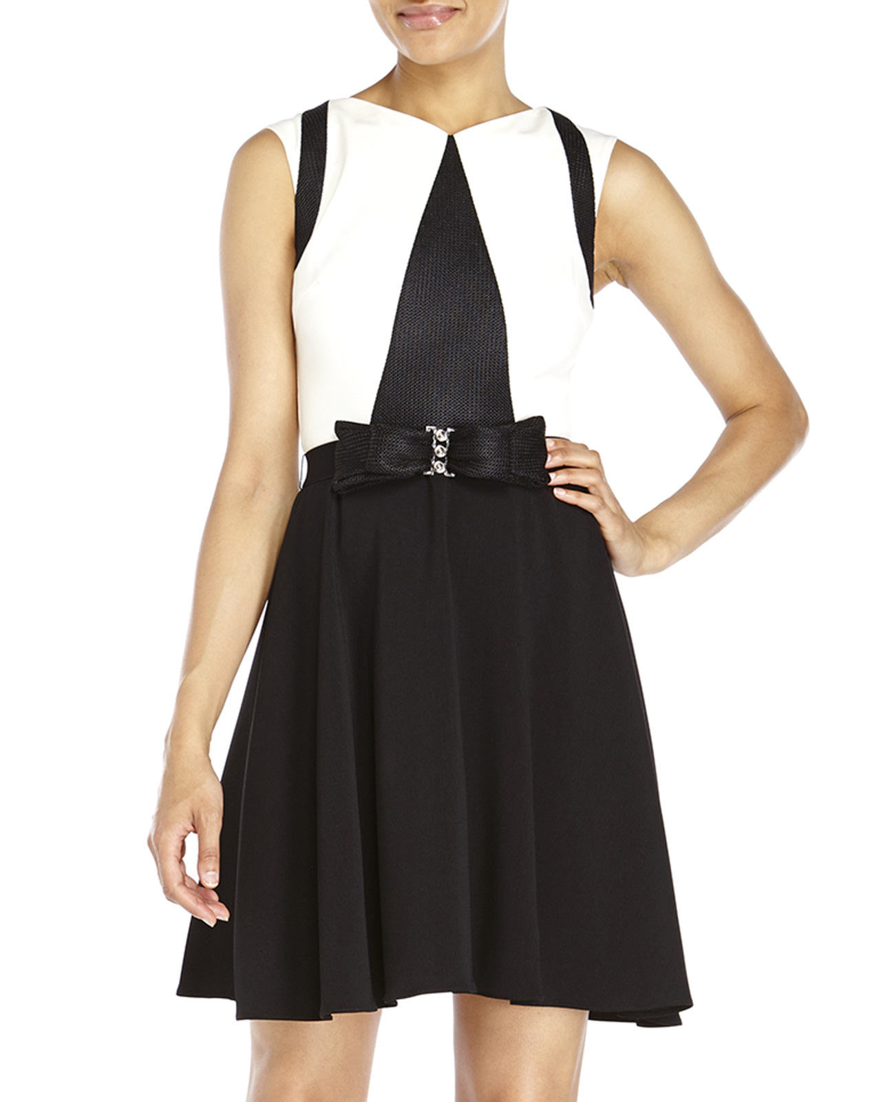 Lyst Badgley Mischka Color Block Bow Belt Dress In White