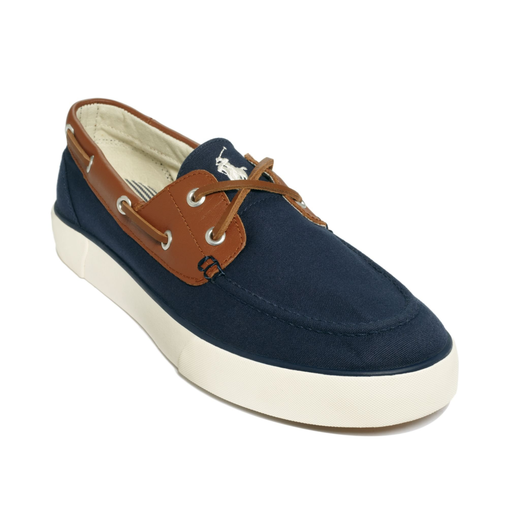 polo ralph rylander boat shoes in blue for
