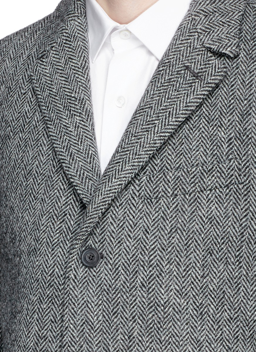 Black white herringbone tweed sport coat