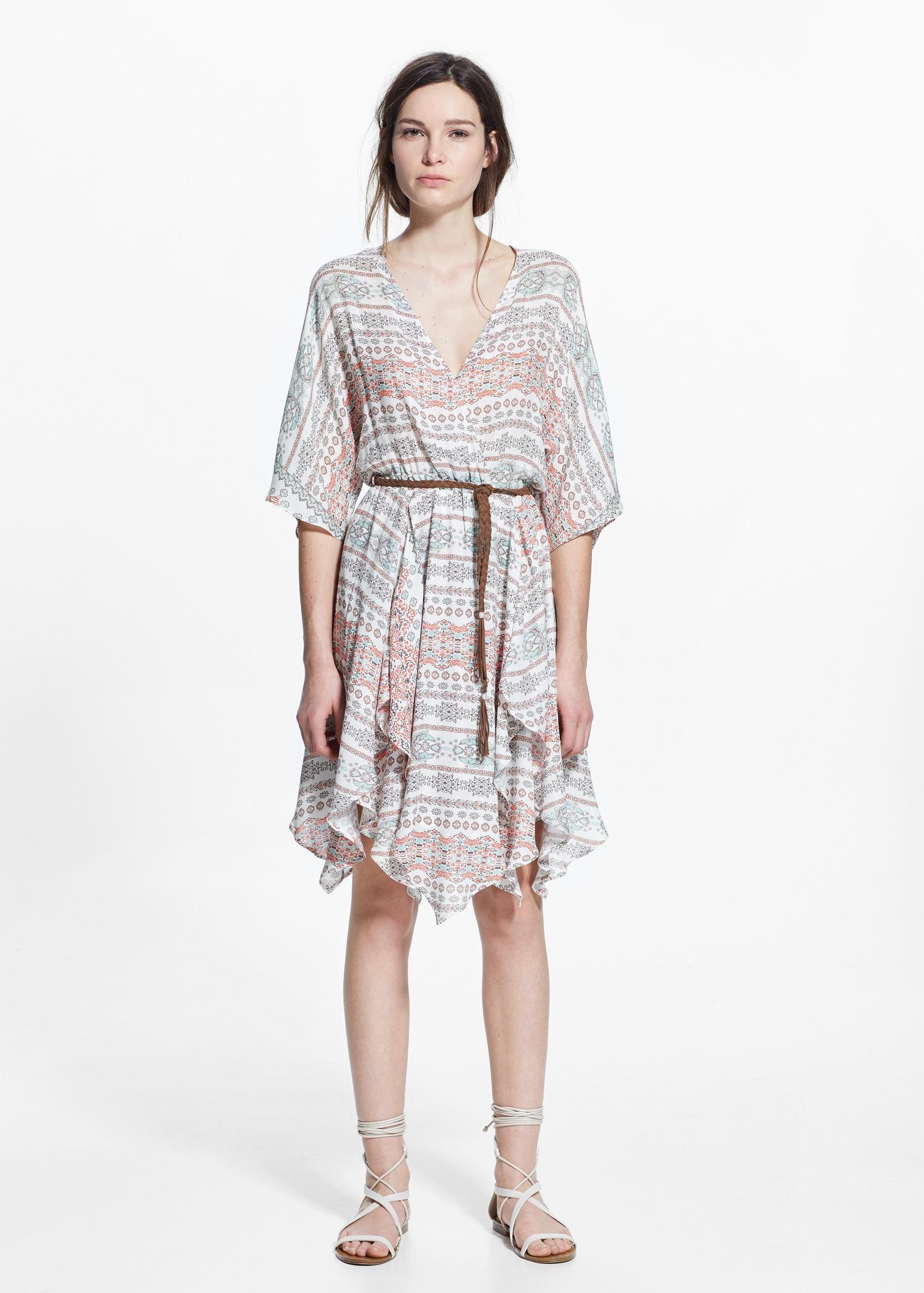 Mango Flowy Print Dress In Gray Lyst