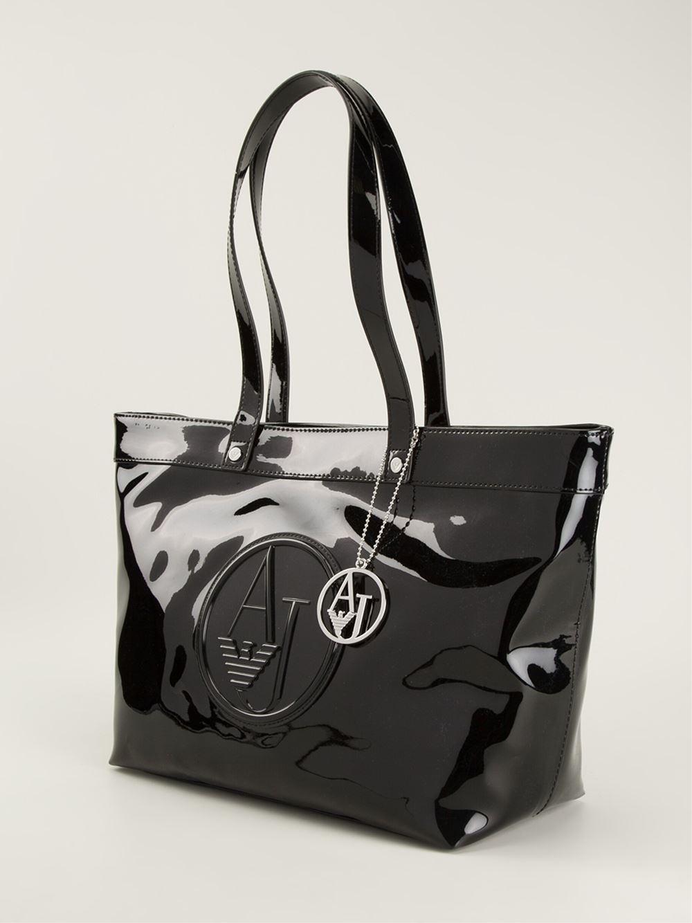 armani jeans logo shopper bag in black lyst. Black Bedroom Furniture Sets. Home Design Ideas