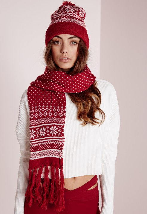 Missguided Fair Isle Hat & Scarf Set Red in Red | Lyst