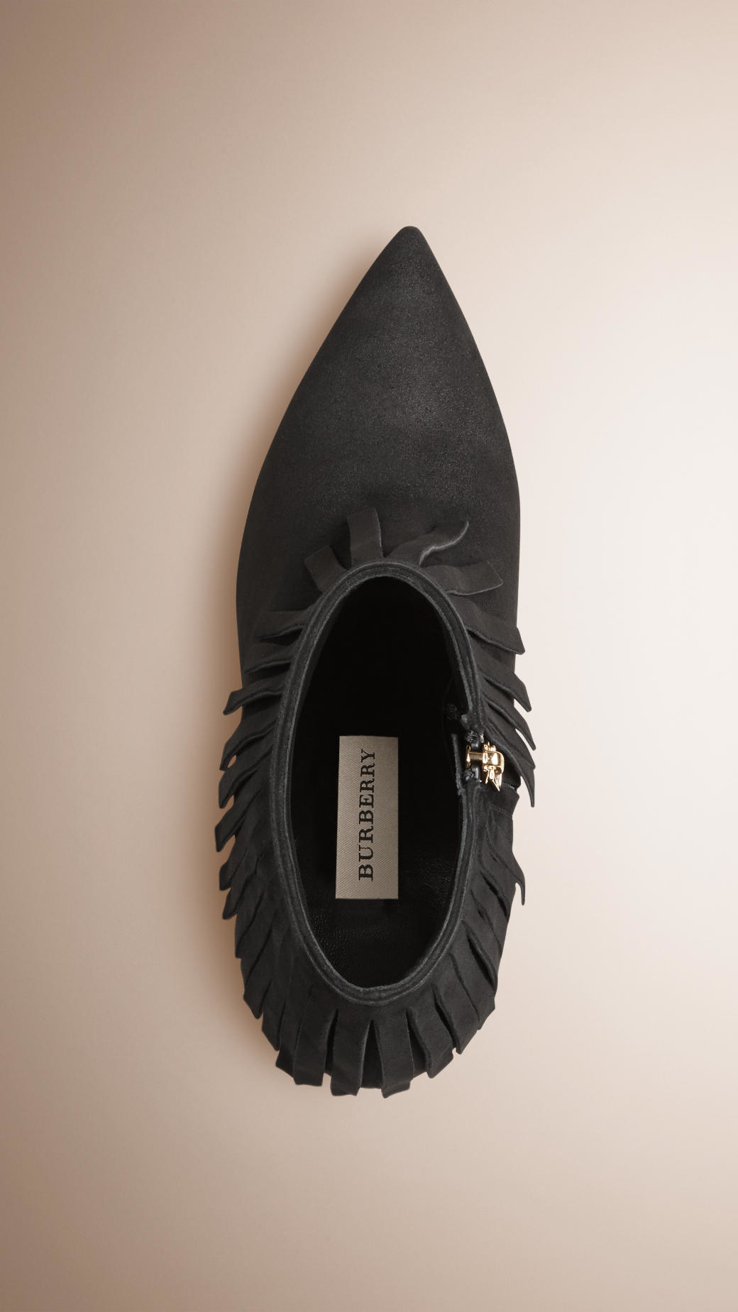 Burberry Fringe Suede Ankle Boots in Black