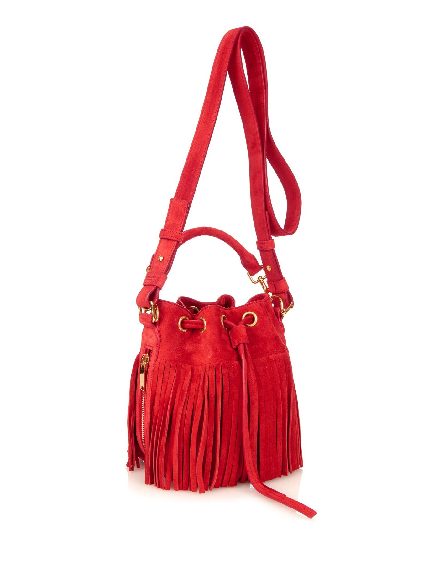 ysl duffle 3 - emmanuelle small suede fringe bucket bag, dark brown