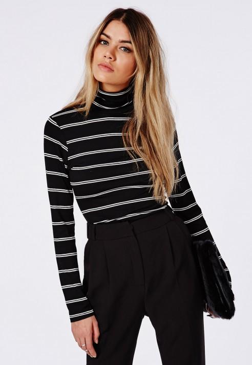 Long Sleeve Striped High Neck Jersey