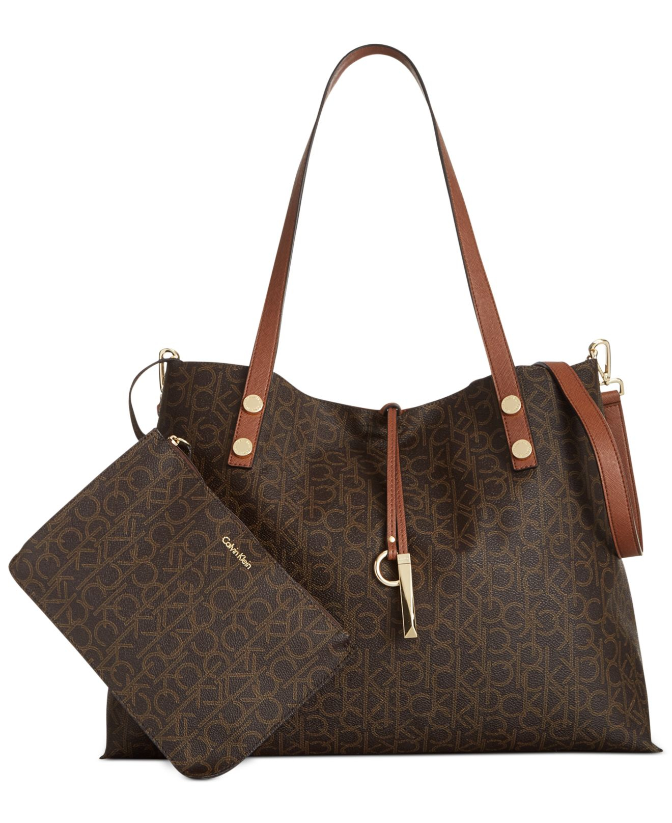 Calvin Klein Reversible Logo Tote In Brown Lyst