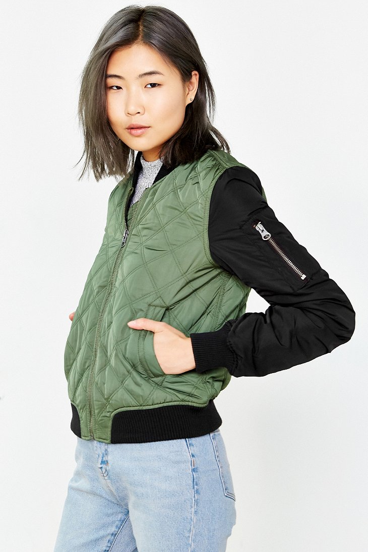 Silence Noise Quilted Bomber Jacket In Green Lyst