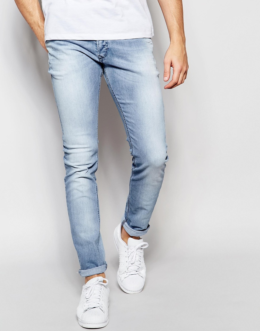 35dc61d1 DIESEL Jeans Sleenker 673e Skinny Fit Stretch Light Blue Wash in ...
