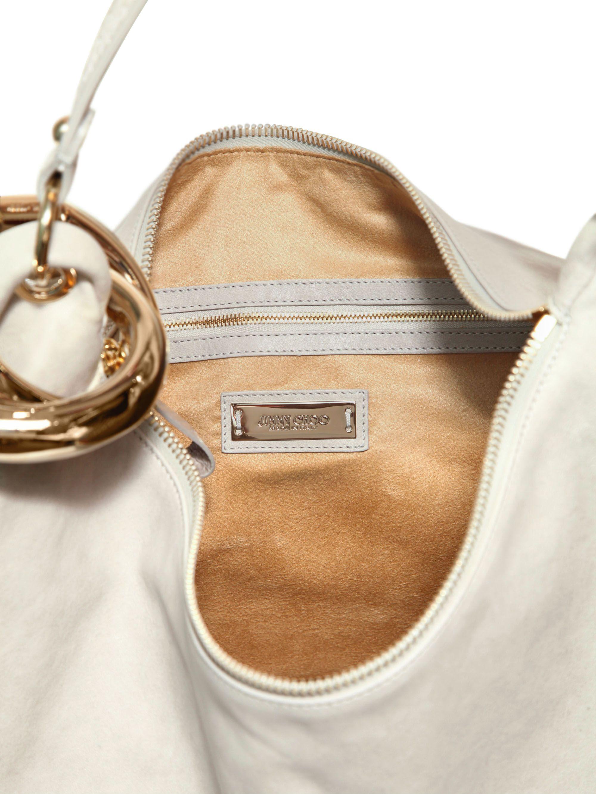 5860b4a276 Lyst - Jimmy Choo Large Solar Soft Leather Shoulder Bag in Gray