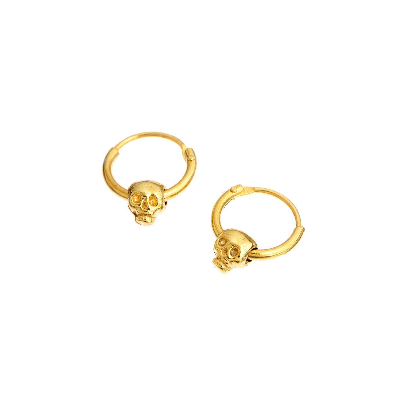 momocreatura baby skull hoop earrings gold in gold lyst