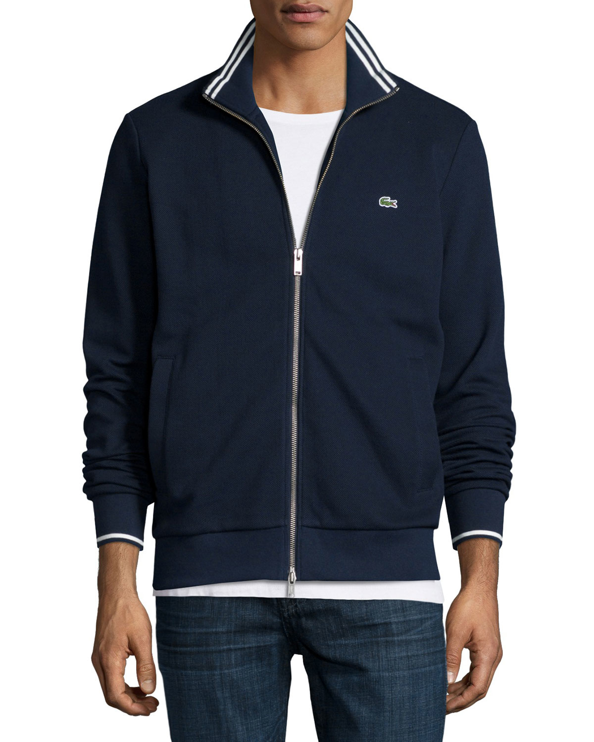 76a4e1cf732fd Lacoste Blue Full-zip Tipped Track Jacket for men