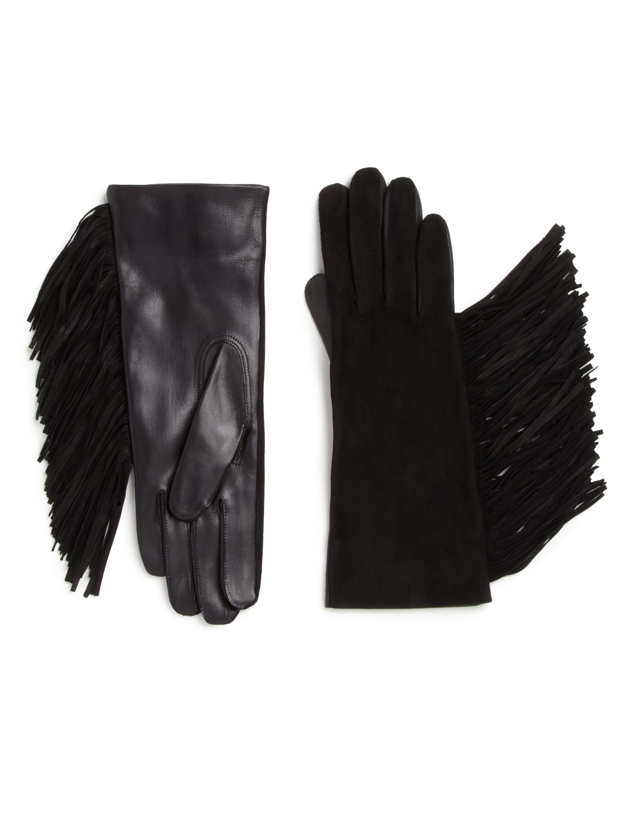 Maison Fabre Fringed Suede Leather Gloves In Black Lyst