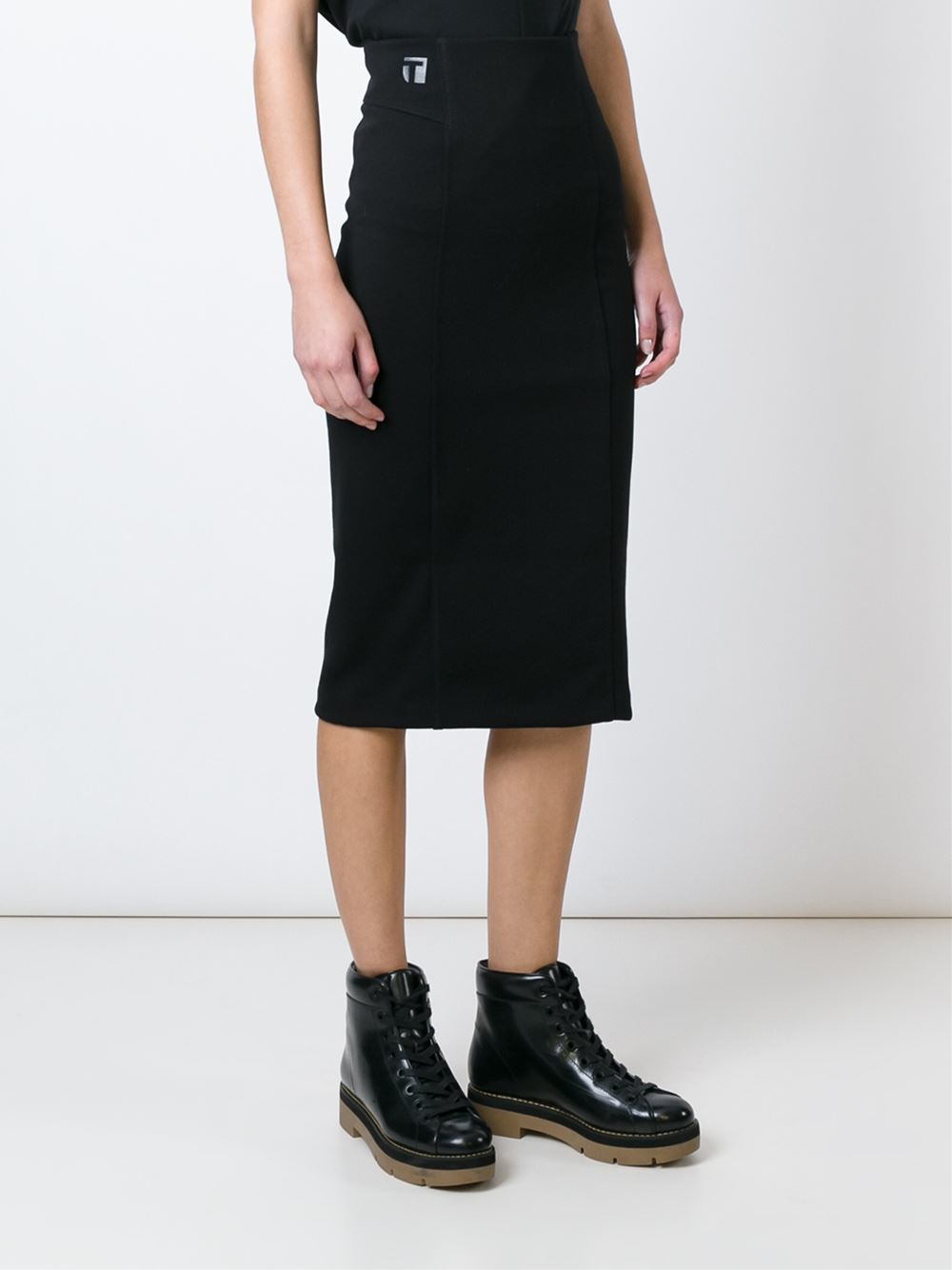 T by alexander wang Fitted Midi Skirt in Black | Lyst