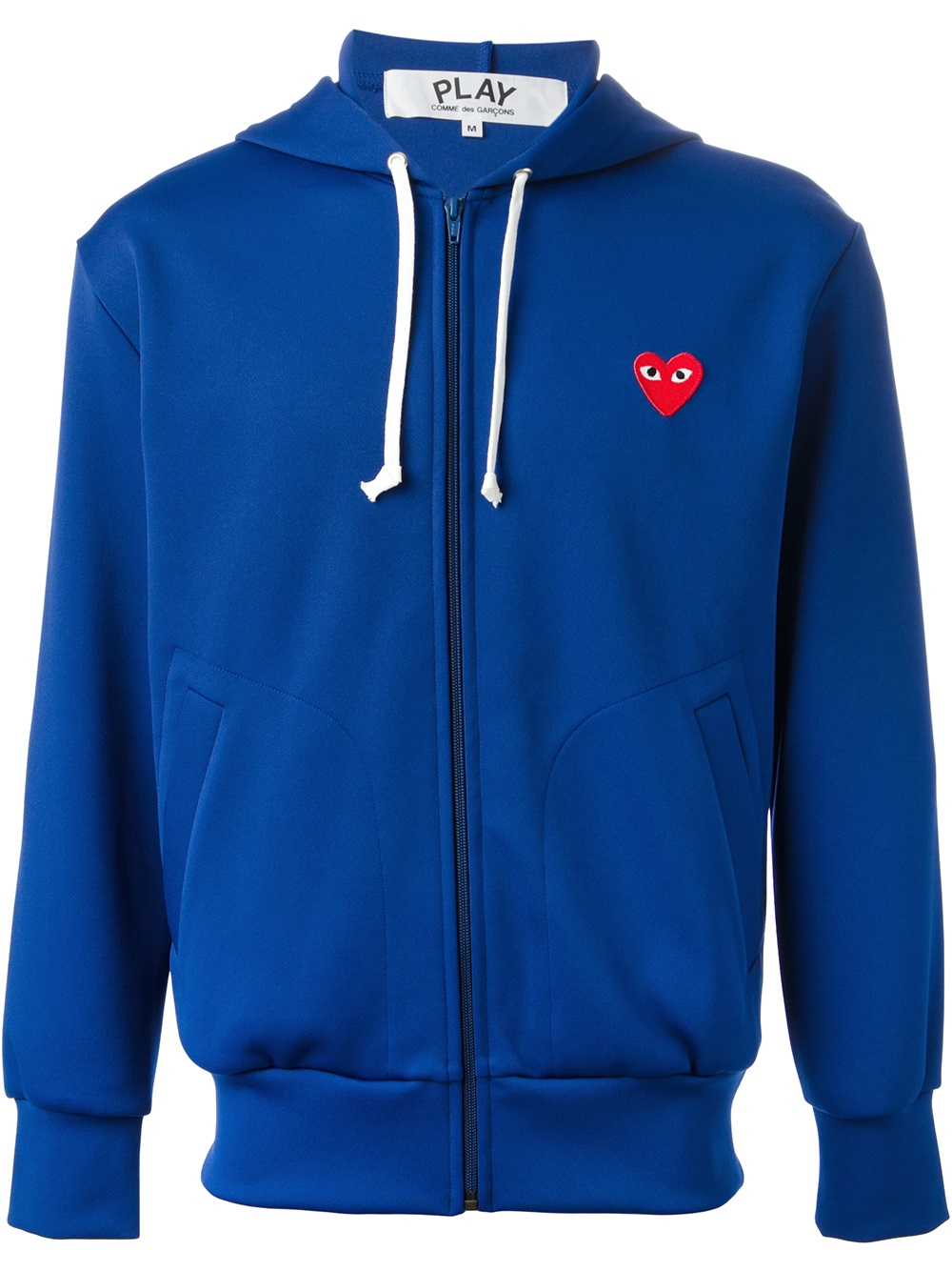 play comme des gar ons embroidred heart hoodie in blue for. Black Bedroom Furniture Sets. Home Design Ideas