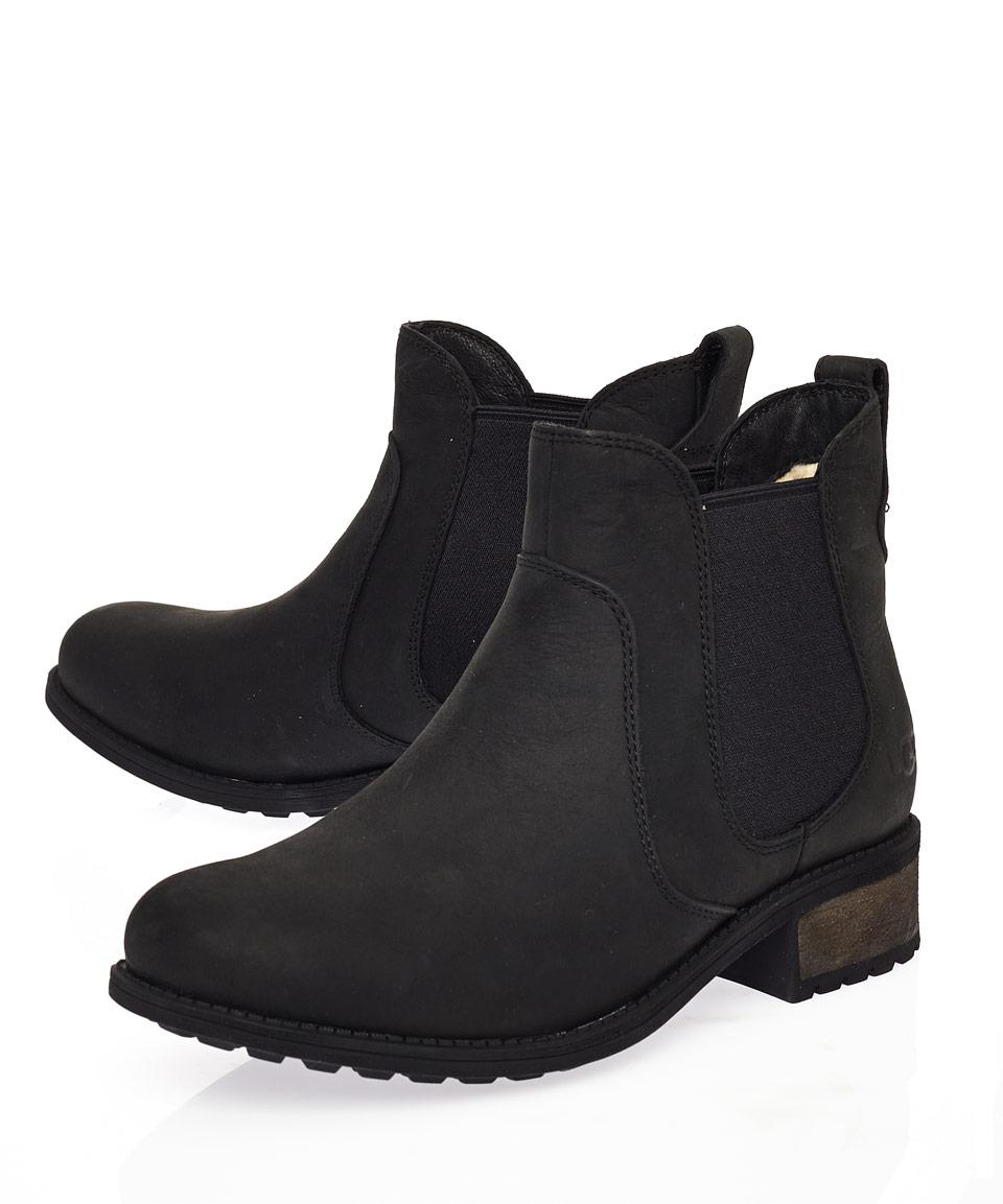 805c8d57381 UGG Black Leather Bonham Ankle Boots