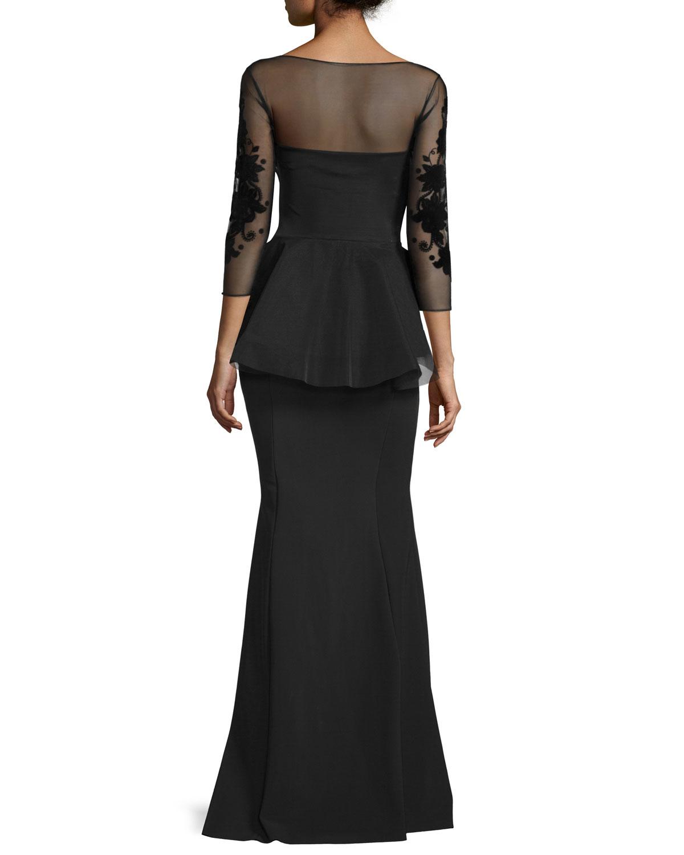 0597d3e8fb1 La Petite Robe Di Chiara Boni Arlene 3 4-sleeve Peplum Mermaid Gown ...