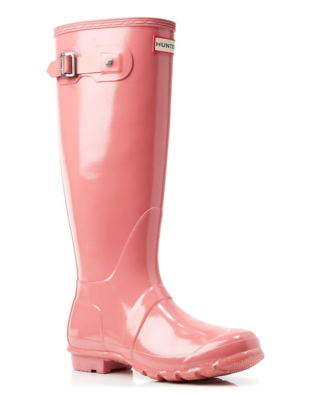 hunter rain boots original tall gloss in pink rhodonite pink lyst. Black Bedroom Furniture Sets. Home Design Ideas