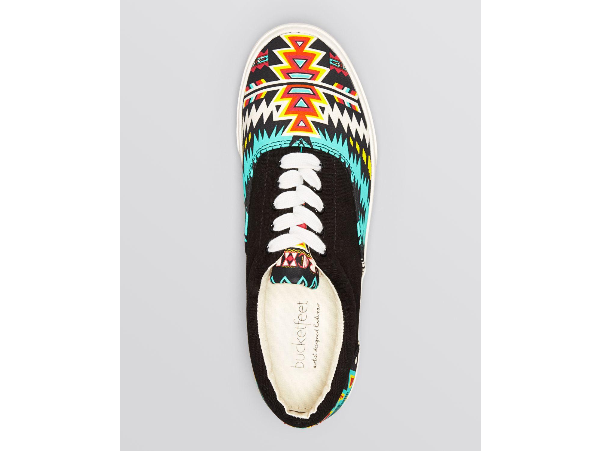 3f94f7fa20 Lyst - Bucketfeet Flat Lace Up Sneakers - Archer Print in Black