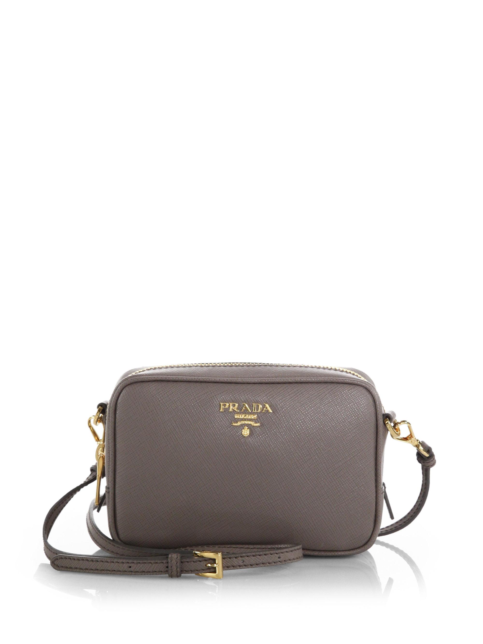 1dac7e145709 ... reduced lyst prada saffiano leather camera bag in gray 4f6cc 1f5a2