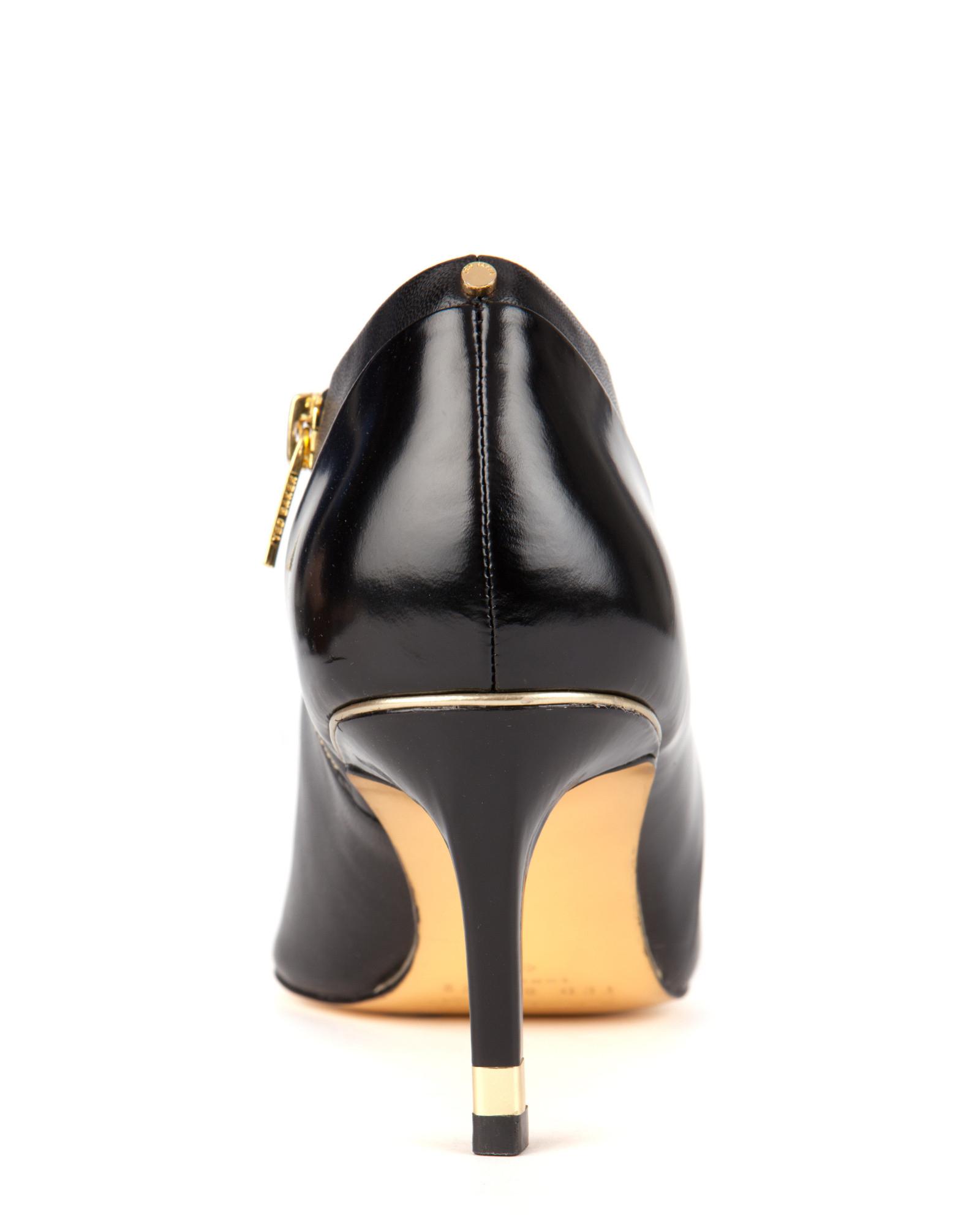 Black Kitten Heel Boots Leather