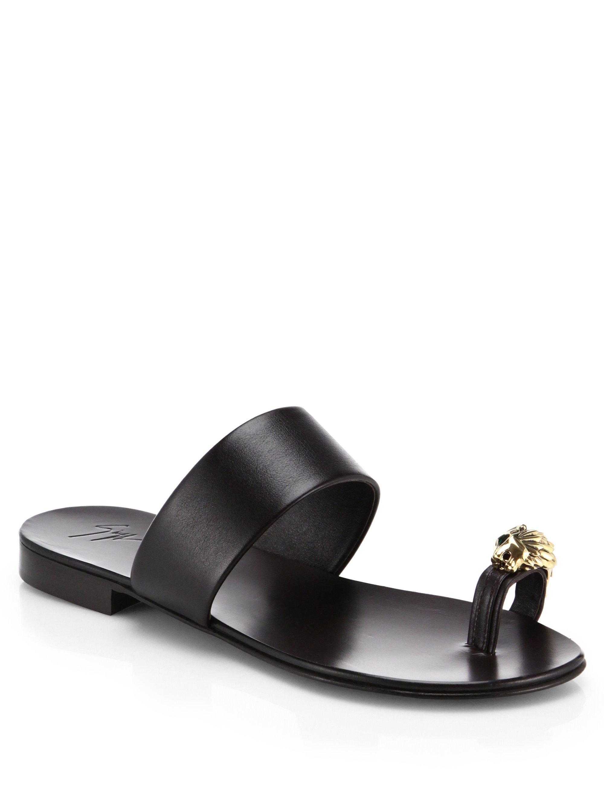f44333362503 Lyst - Giuseppe Zanotti Metallic Lion Toe Ring Leather Sandals in Black
