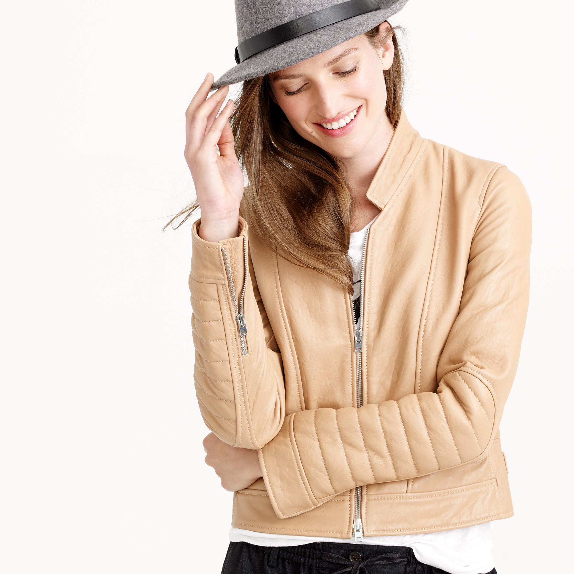 f7e8255da J.Crew Natural Collection Standing-collar Leather Jacket