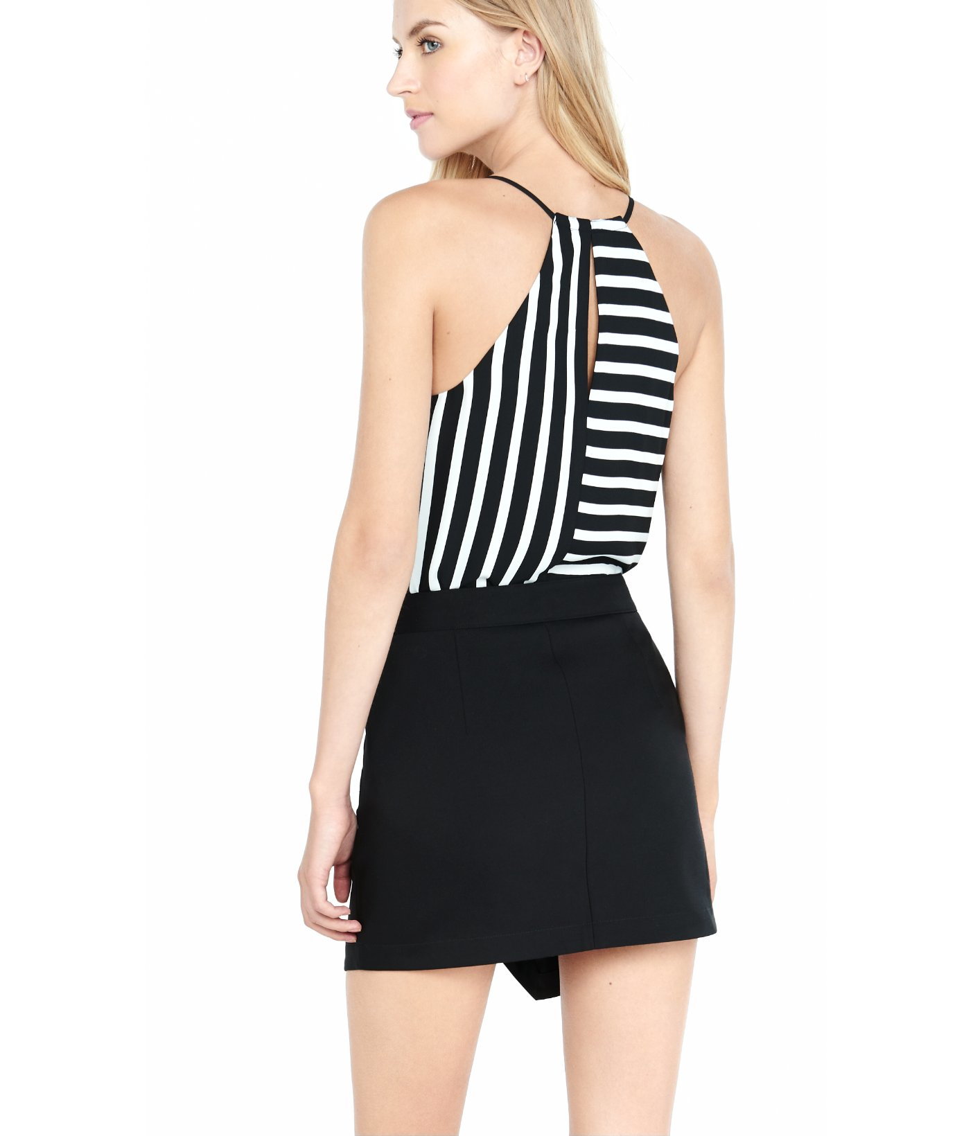express black high waisted asymmetrical skirt in black lyst