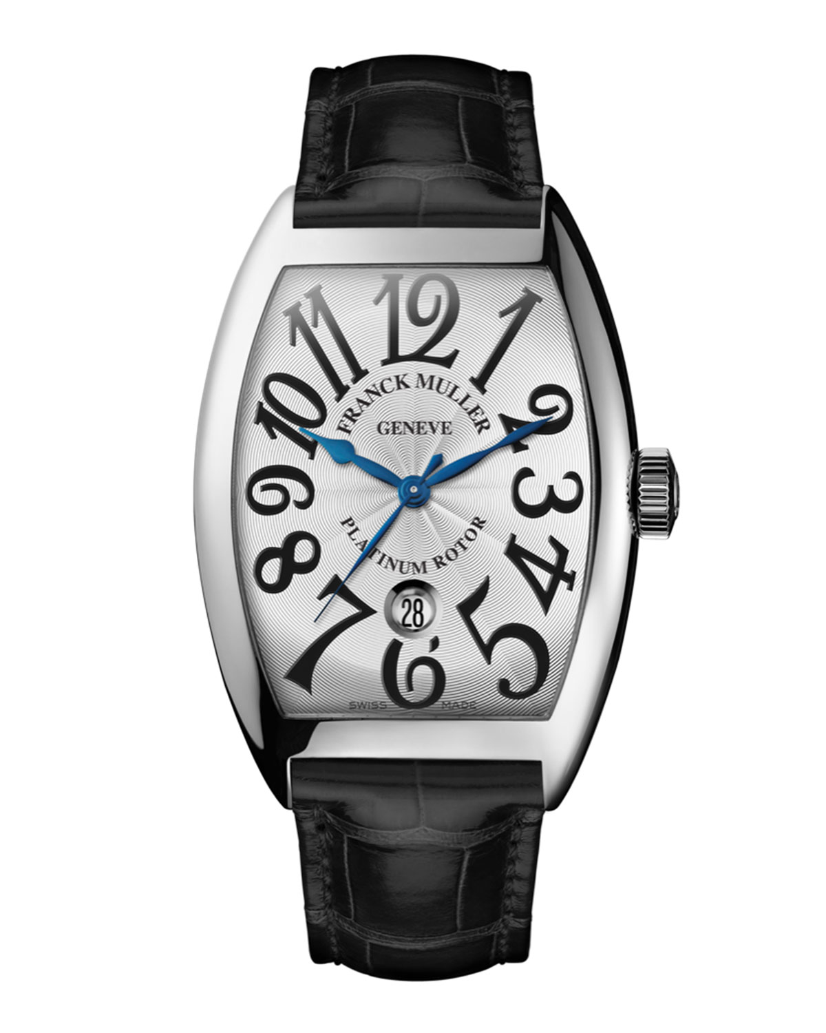 Franck muller men 39 s automatic curvex watch with alligator strap in metallic for men lyst for Franck muller watches