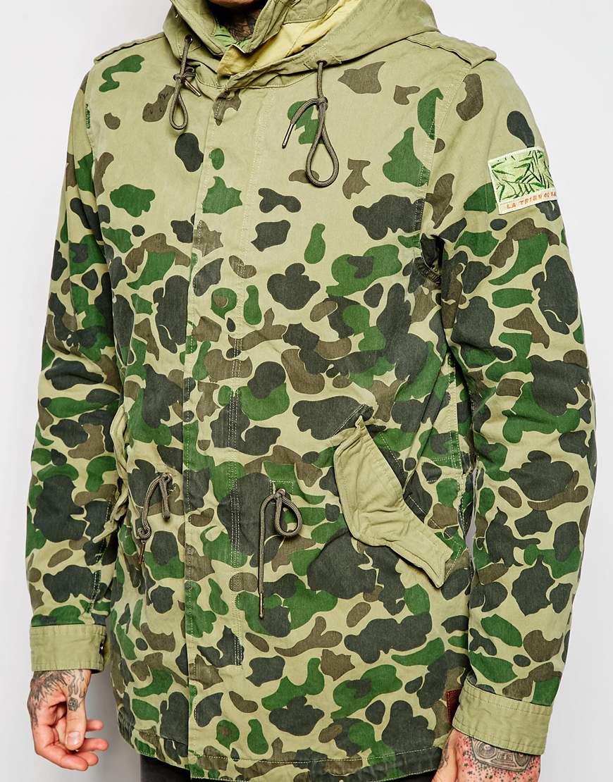 lyst scotch soda camo parka jacket in green for men. Black Bedroom Furniture Sets. Home Design Ideas